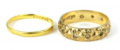Two rings, to include a 22ct gold wedding band, 1.8g, and a 9ct gold dress ring, set with white stones, 3.1g all in.