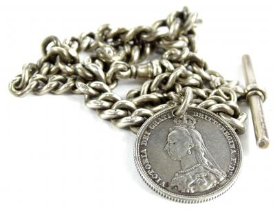 A silver watch chain and coin fob, the curb link chain with t-bar and clip, and a Victoria 1887 crown, 35cm long overall, 51.8g all in.
