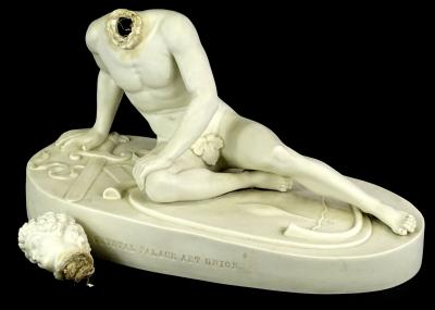A Victorian Crystal Palace Art Union parian figure of a dying Gaul, on oval named pedestal, (AF), 38cm W.
