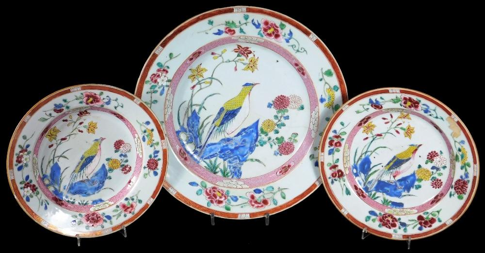 A pair of famille rose porcelain plates, decorated with exotic birds within...