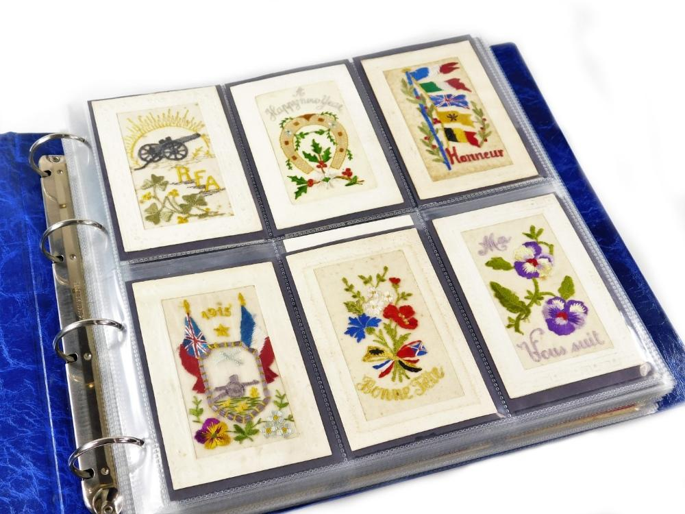 Various postcards, WWI embroidered cards, to include one dated 1915 with...