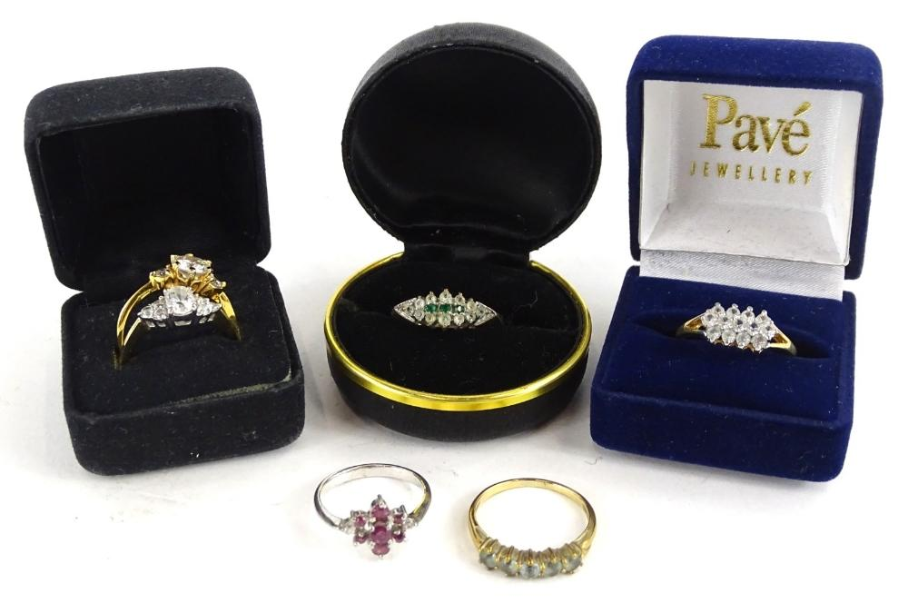 Six various gem set rings, to include a silver cluster ring, and five...