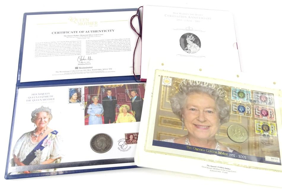 Three limited edition coins or coin sets, to include The Queen Mother...