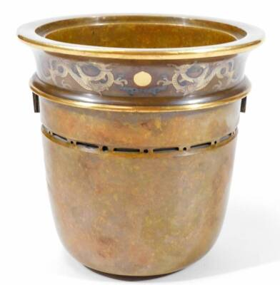 A fine Japanese two-colour patinated bronze koro, with gilt piquet work embellishments, silvered inlays and aplliques of coral and mother-of-pearl, the pierced and domed cover having Kylin surmount, dragon banded insert, the two-handle bulbous body with s - 12
