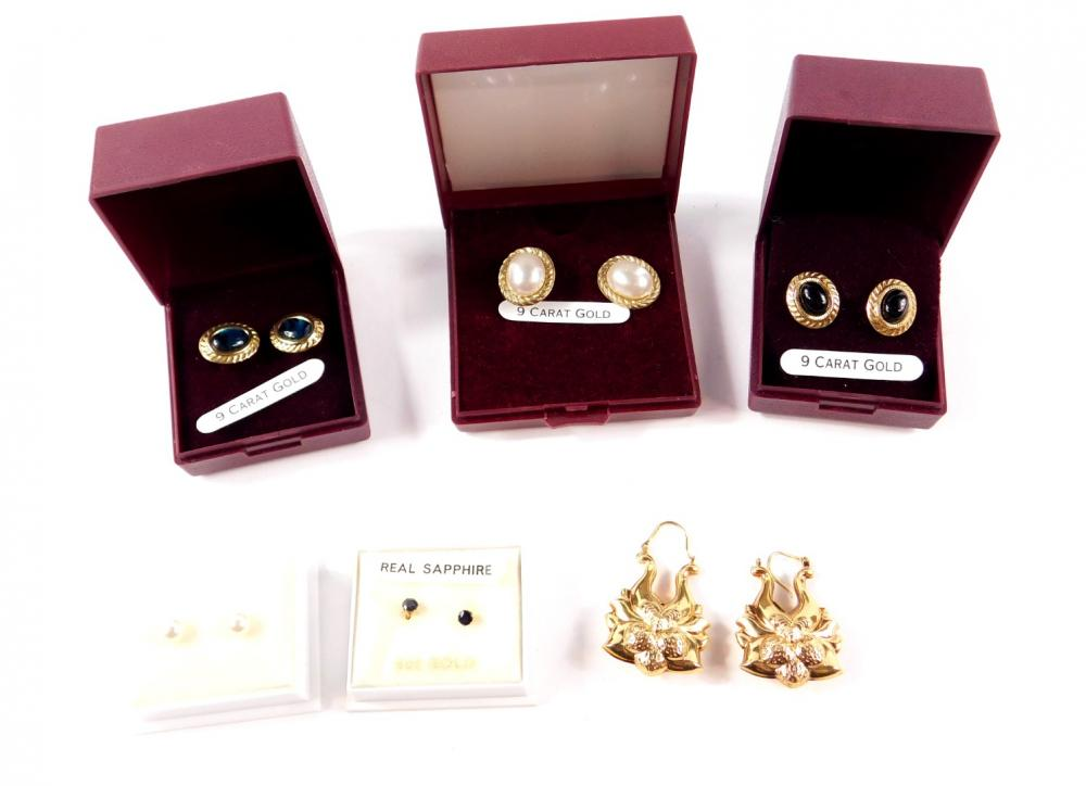 A pair of 9ct gold hollow fancy drop earrings, 4.2g, four pairs of 9ct gold...