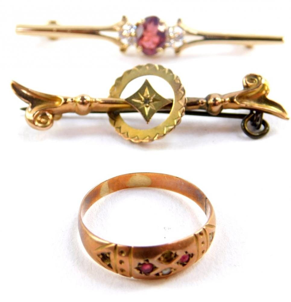 A Victorian 9ct gold bar brooch, 9ct gold and gem set bar brooch, and a...