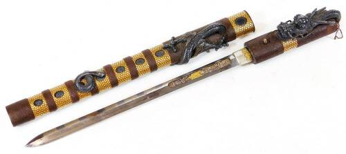 A fine and rare Japanese ken tanto with dragon mounts.