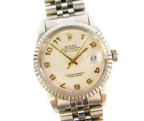 A Rolex Oyster Perpetual Datejust stainless steel gentleman's wristwatch.