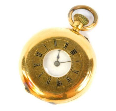 A late 19thC ladies half hunter pocket watch, bezel wind, in a yellow metal case stamped 18K.