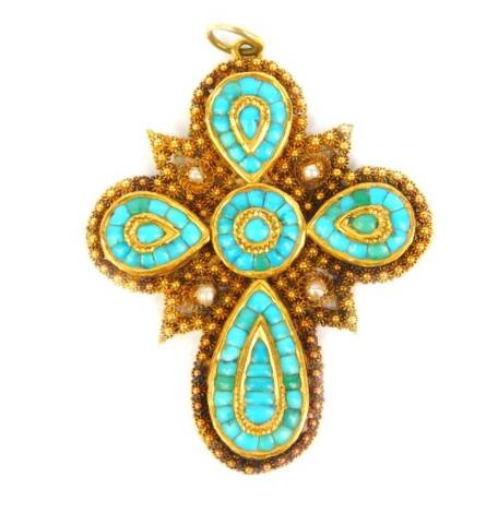 A late 19th/early 20thC Indian pendant, set with pear shape and circular boteh, set with turquoise stones, set in yellow metal with filigree work and seed pearls, 5cm high, 14.1g all in.