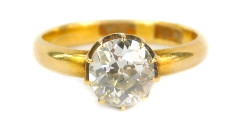 An 18ct gold diamond solitaire ring, set with a single diamond of approximately 1.1carat, ring size N ½.