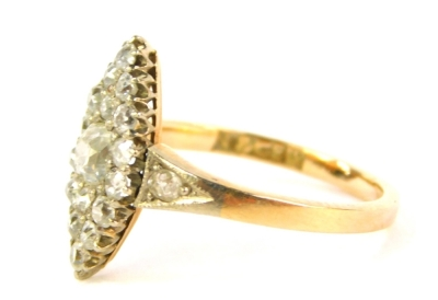 An 18ct gold diamond marquise cluster ring, set with old cut stones to the shoulders and mount, 3.1g all in. - 2