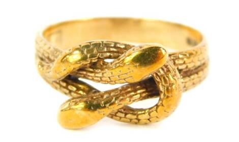 A 9ct gold interlinked serpent ring, 4.5g.