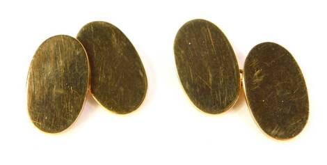 A pair of 9ct gold oval cufflinks, 15.2g.