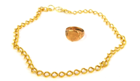 A 9ct gold signet ring, 5.5g and a fine yellow metal chain (2).