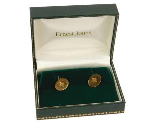 A pair of 9ct gold Millennium cufflinks, 2.4g, cased.