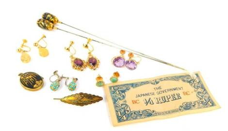 Various earrings, including amethyst and turquoise set, Japanese oval locket and hat pins, etc.