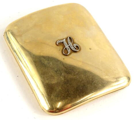 A 9ct gold cigarette case, of plain curved design, bearing embellished H initial to the front set with tiny diamonds, with inscription to inside Ahuiad Saed, makers stamp R N, Birmingham 1922, 8.5cm high, 7.5cm wide,0.6cm deep, 105.8g all in.