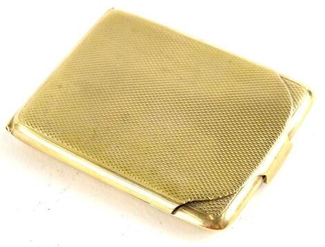 A 9ct gold match case, with engine turned decoration, bearing inscription Malcolm Xmas 1926, maker W.N Ltd, Birmingham assay, 6cm high x 4cm wide x 0.4cm deep, 26.9g all in.