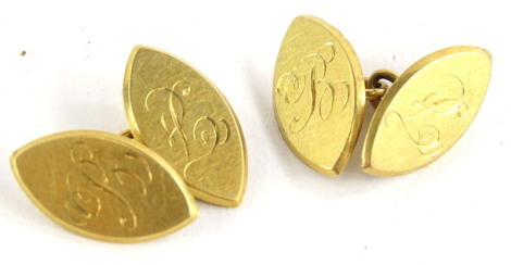 A pair of 18ct gold diamond shaped cufflinks, bearing inscription B to both sides, maker stamp WJH, 9.1g.