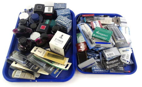 A large quantity of fountain pen ink, ink pots to include pots of coloured inks, cartridges, refills for biros etc.
