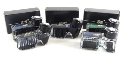 Various bottles of Montblanc fountain pen ink, to include Midnight Blue, Irish Green, etc., some bottles possibly incomplete.