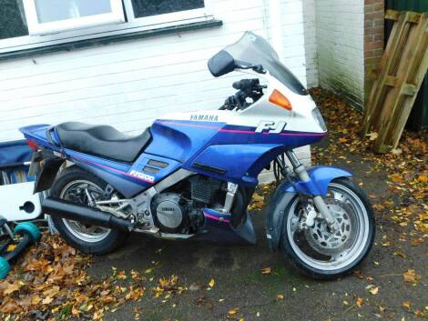 A Yamaha FJ1200 motorcycle, Registration J598 BUY, 48,559 recorded miles, with V5.