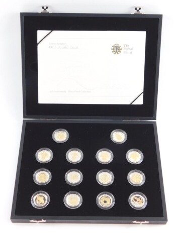 A Royal Mint Twenty Fifth Anniversary Silver Proof Collection, one pound coins, with certificate, cased and boxed.