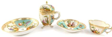 A Helena Wolfsohn late 19thC porcelain chocolate cup cover and saucer, decorated with courting figures after Watteau, and flowers against a turquoise ground, 13cm high, together with a similarly decorated coffee cup and saucer. (2)