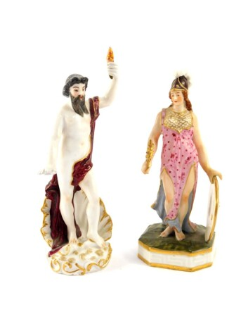 A Samson Derby late 19thC porcelain figure of Minerva, modelled standing wearing a helmet, with a shield in her left hand, raised on an octagonal base, painted mark, 15.5cm high, together with a German porcelain figure 19thC, of Neptune, modelled emerging