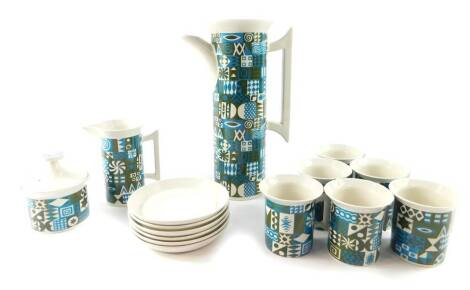 A Portmeirion pottery part coffee service, decorated in the Tivoli pattern, designed by Susan Williams-Ellis, comprising coffee pot, cream jug, sugar bowl, six cups, and saucers.