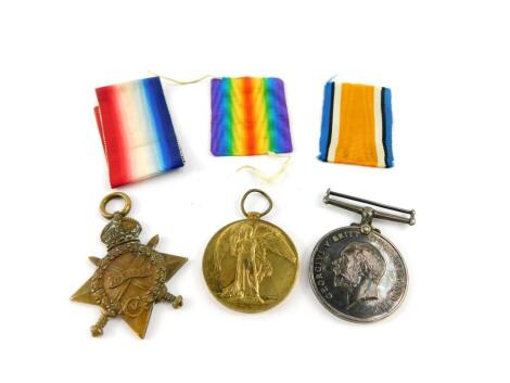 Three Great War medals, named to private Percy Judd, first Bn. Wiltshire Regiment, service no. 10574, comprising 1914/15 star, Great War and Victory medals. Private Percy Judd was killed in action on 16th June 1915, aged 20, remembered with honour on the