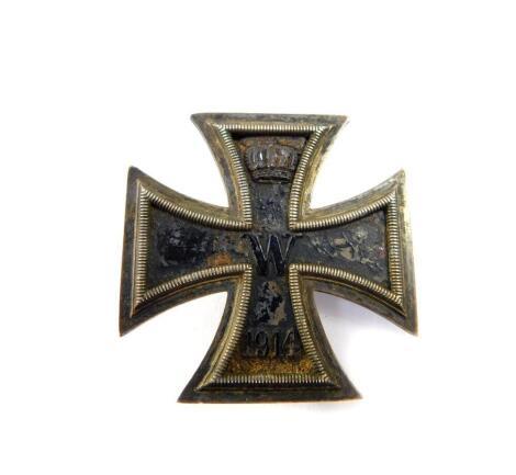 A World War I German Iron Cross, first class.