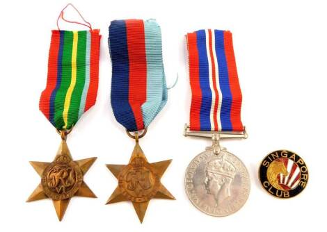 A WWII Medal group, comprising War Medal 1939-45, The 1939-45 Star and The Pacific Star, together with a Singapore Club enamelled badge, in an OHMS box.