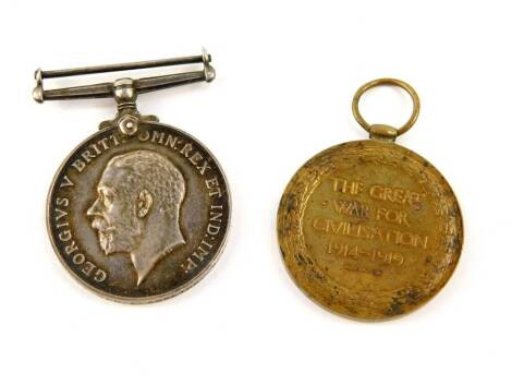 A WWI Medal pair, comprising War Medal 1914-18 inscribed to 564312 SPR E.Moreton R.E. and Victory Medal (uninscribed).