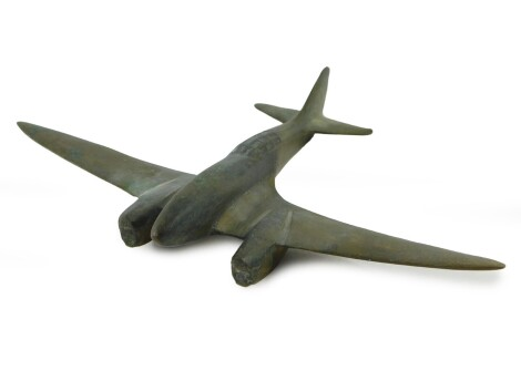 A brass model of a WWII British Fighter plane, 24.5cm wide.