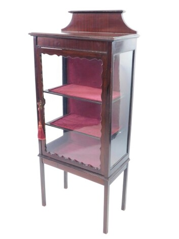 A late Victorian mahogany display cabinet, with glazed sides and frontal door opening to reveal two shelves, raised on square legs, 140cm high, 16.5cm wide, 32cm deep.
