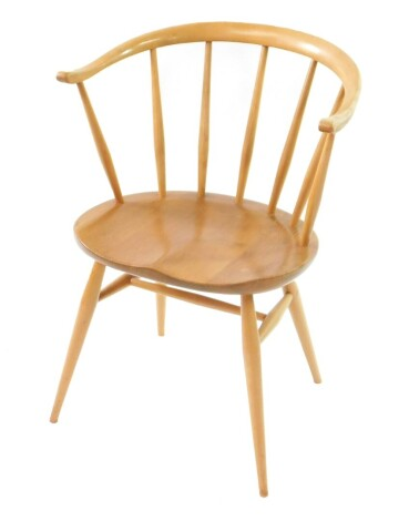 An Ercol blonde elm and beech Cowhorn dining chair.