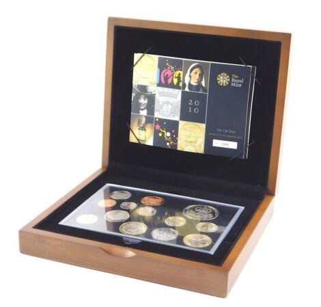 A Royal Mint United Kingdom Executive Proof Coin Set 2010, with certificate No 3339, cased.