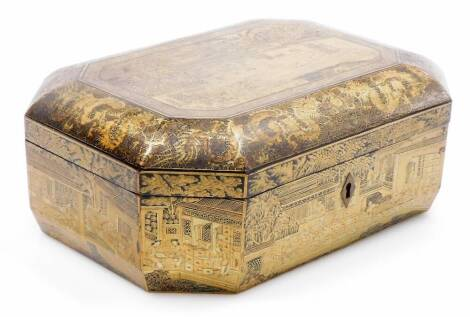 A 19thC octagonal Chinese export lacquer box, decorated in gilt with panels of figures and buildings with background of dragons. Removable interior tray, 12cm high, 26cm wide, 21cm deep.