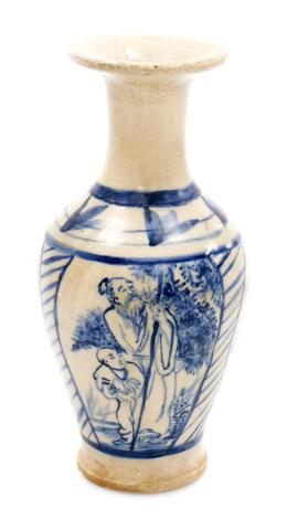A Chinese pottery bluster vase with everted neck, decorated in underglaze blue with panels of sages, on a glazed base, 22cm high.