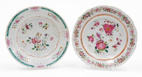 An 18thC Chinese porcelain plate, in famille rose palette, decorated with flowers within an outer turquoise border broken by further flowers in pink and turquoise with a gilt outline, 23cm diameter, and a further export porcelain plate. (2, AF)