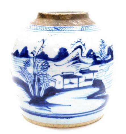 A Chinese blue and white porcelain ginger jar, decorated with a landscape scene below geometric border, 19thC, 27cm high. (AF)
