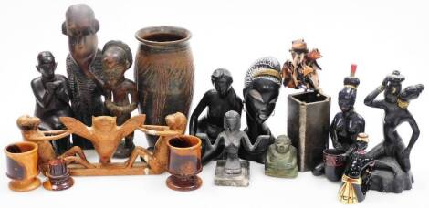 Various metal ware, African treen carvings, Studio style vase, African tribal monkey and owl group 32cm wide, various other treen, African tribal carvings, vase, etc. (a quantity)