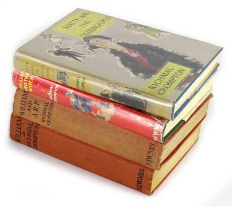 Crompton (Richmal) WILLIAM AND THE WITCH, 1964: MATTY AND THE DEARINGROYDES, 1956; dust-jackets, William, n.d.: WILLIAM AND A.R.P., 1939, publisher's boards, 8vo. (4)