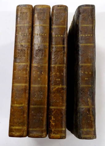 Cumberland (Richard) Henry 4 vol., engraved frontispieces, half calf over patterned boards, 12mo, for C. Dilly. 1798.