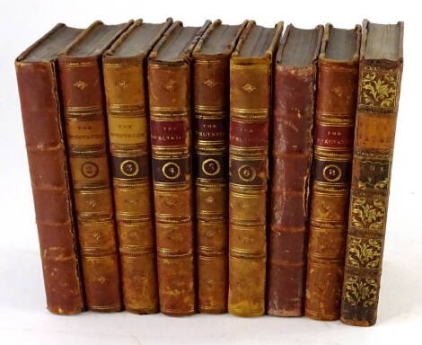 The Spectator.- 8 vol, mixed edition, contemporary calf, some boards loose, some spines replaced, A. Donaldson, Edinburgh & J. R. & S. Tonson, London 1766-[n.d.]; and an additional vol. 5. (9)