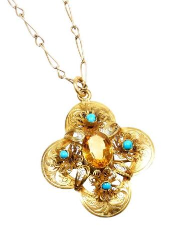 A Victorian citrine and turquoise pendant and chain, the four section pendant with central citrine, flanked by a turquoise to each point with filigree type scrolling and decoration, on a gold coloured frame, unmarked, believed to be silver gilt, 4cm x 3.5