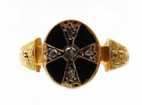 An 18ct gold Victorian memorial ring, the oval panel set with black enamel and tiny diamonds, on splayed shoulders, bearing wording In Memory of, split over both sides, bearing inscription to inner band Henry West Foster died March 31 1874, age ?, ring si