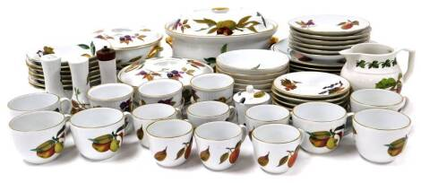 Various Royal Worcester Evesham pattern dinnerware, to include lidded souffle dish, 28cm wide, various other lidded dishes, plates, cups, saucers, bowls, cruet, ramekins, and a Portmeirion jug. (a quantity)